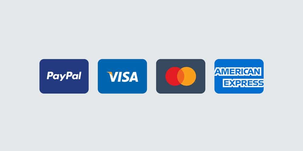 PayPal, Visa, Mastercard, American Express